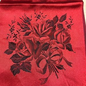 Accessories - Vintage ruby red scarf w/rose design